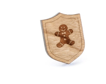 Gingerbread Man Lapel Pin, Wooden Pin, Wooden Lapel, Gift For Him or Her, Wedding Gifts, Groomsman Gifts, and Personalized