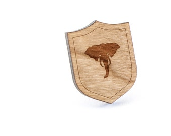 Elephant Head Lapel Pin, Wooden Pin, Wooden Lapel, Gift For Him or Her, Wedding Gifts, Groomsman Gifts, and Personalized