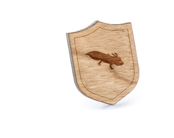 Axolotl Lapel Pin, Wooden Pin, Wooden Lapel, Gift For Him or Her, Wedding Gifts, Groomsman Gifts, and Personalized