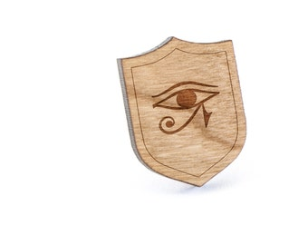 Eye Of Horus Lapel Pin, Wooden Pin, Wooden Lapel, Gift For Him or Her, Wedding Gifts, Groomsman Gifts, and Personalized