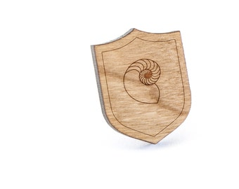 Nautilus Shell Lapel Pin, Wooden Pin, Wooden Lapel, Gift For Him or Her, Wedding Gifts, Groomsman Gifts, and Personalized