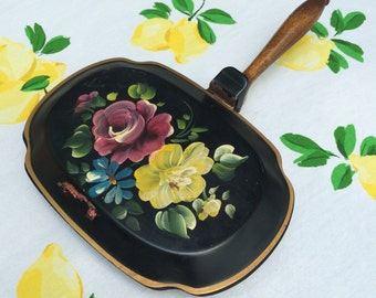 Vintage Nashco Tole Crumb Catcher ~ Silent Butler ~ Hand-Painted Roses ~ Tray