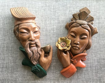 Pair of Gorgeous Mid-Century Chalkware Asian Wall Plaques