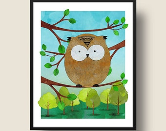 Owl in Forest Tree Print, Owl Decor, Forest Nursey Art, Owl Wall Art, Owl in Tree Branch, Printable Art, Digital Download