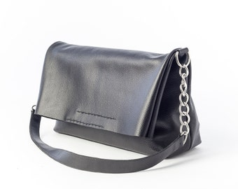Leather Foldover Bag, Leather Foldover, Black Bag