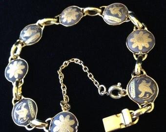 Girls Damascene Bracelet-Vintage Childrens Bracelet-Small Damascene Bracelet With Safety Chain-Kids Bracelet-