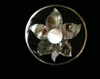 Abalone Flower Pendant- Alpaca Mexico Abalone Brooch- Shell Inlay Jewellery- Abalone Inlay Brooch/Pendant- Made In Mexico