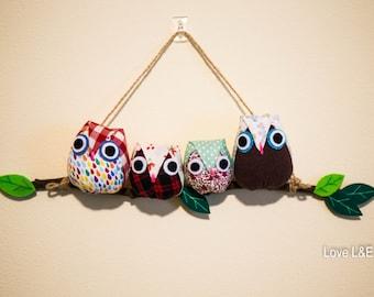 Owl mobile, Owl family- Family of 4