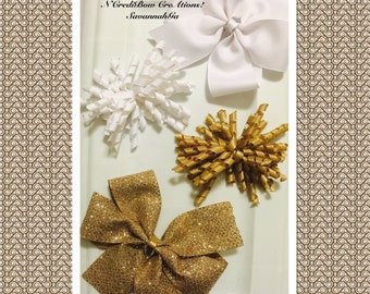 White bow and khaki bow set curly bows uniform bows hair bows stacked bow bling bow by ncredibow creations