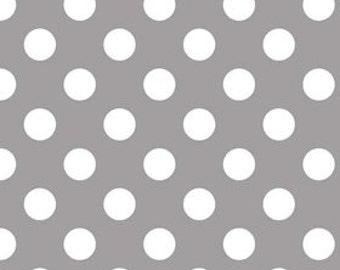 Riley Blake Medium Dot, White on Gray,  fabric by the yard