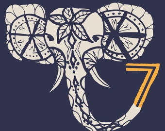 Lucky Number 7 Elephant Print