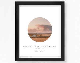 Thinking of Home, Literary Quote, Home, William Faulkner, Quote Print, Typography Print, Literary Art, Minimalist Art, Rain