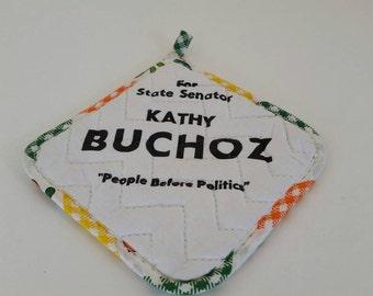 Vintage potholder. Political potholder. Retro kitchen linen. Retro potholder. 1980.