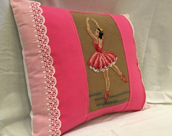 Vintage Ballerina Petit Needlepoint NEW Pillow, One-of-a-Kind Dance Ballet Pillow, Ballerina Bedding, Pink Girl Bedding, Down/Feather Insert
