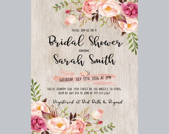 bridal shower invitation, floral bridal shower invitation, floral shower invitation, bohemian bridal shower invite, peonies bridal shower