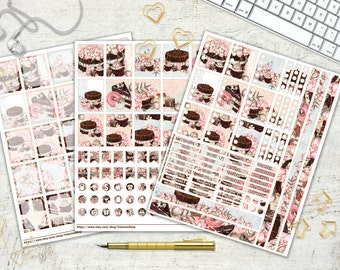 Chocolate and Peony Planner Stickers Daily Planner Stickers Blush Pink Blue Chocolate Brown Peony Cake Donut Sweet 8.5x11 Instant Download