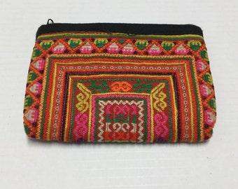 Tribal Vintage Hmong purse,Hmong Bag,Cross stitch bag cosmatic,Tribal Hmong purse, coin purse Hmong, Hmong bag, Vintage purse form thailand