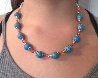 beautiful handmade necklace combination with swaroski beads