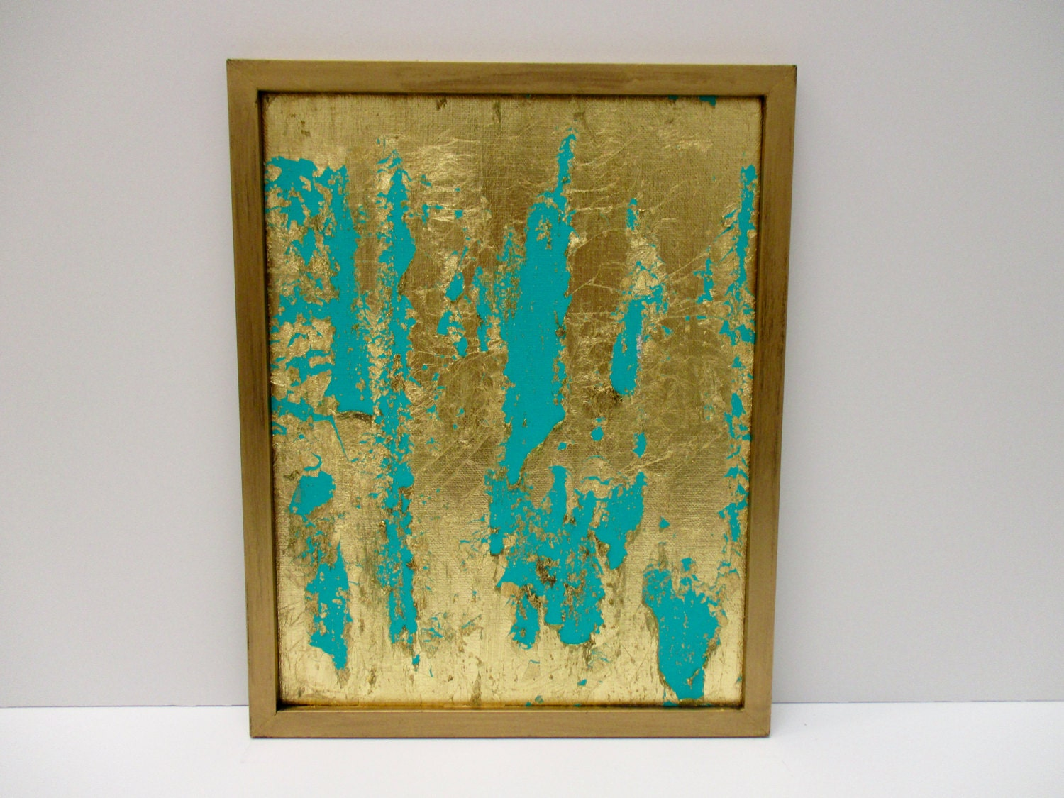 Gold wall art turquoise abstract gold leaf painting gold for Turquoise wall decor