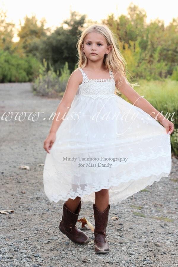 Bohemian Flower Girl Dress, Boho Lace & Crochet Flower Girl dress, White Lace Flower girl dress, Beach Flower girl dress, Junior Bridesmaid