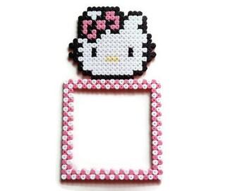 Decoration switch/plug Hello Kitty [Pixel Art Hama beads]