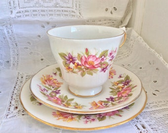 English Bone china tea set: Colclough Wayside, footed tea cup, saucer and elegant China for the perfect tea party plate