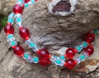 CLEARANCE***Red and turquoise beaded bracelet with iridescent accents