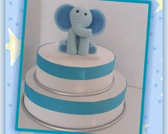 Blue Elephant Edible Cake Topper