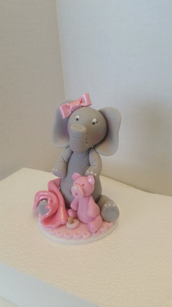 Baby Elephant with Teddy Bear edible sugar cake topper ...