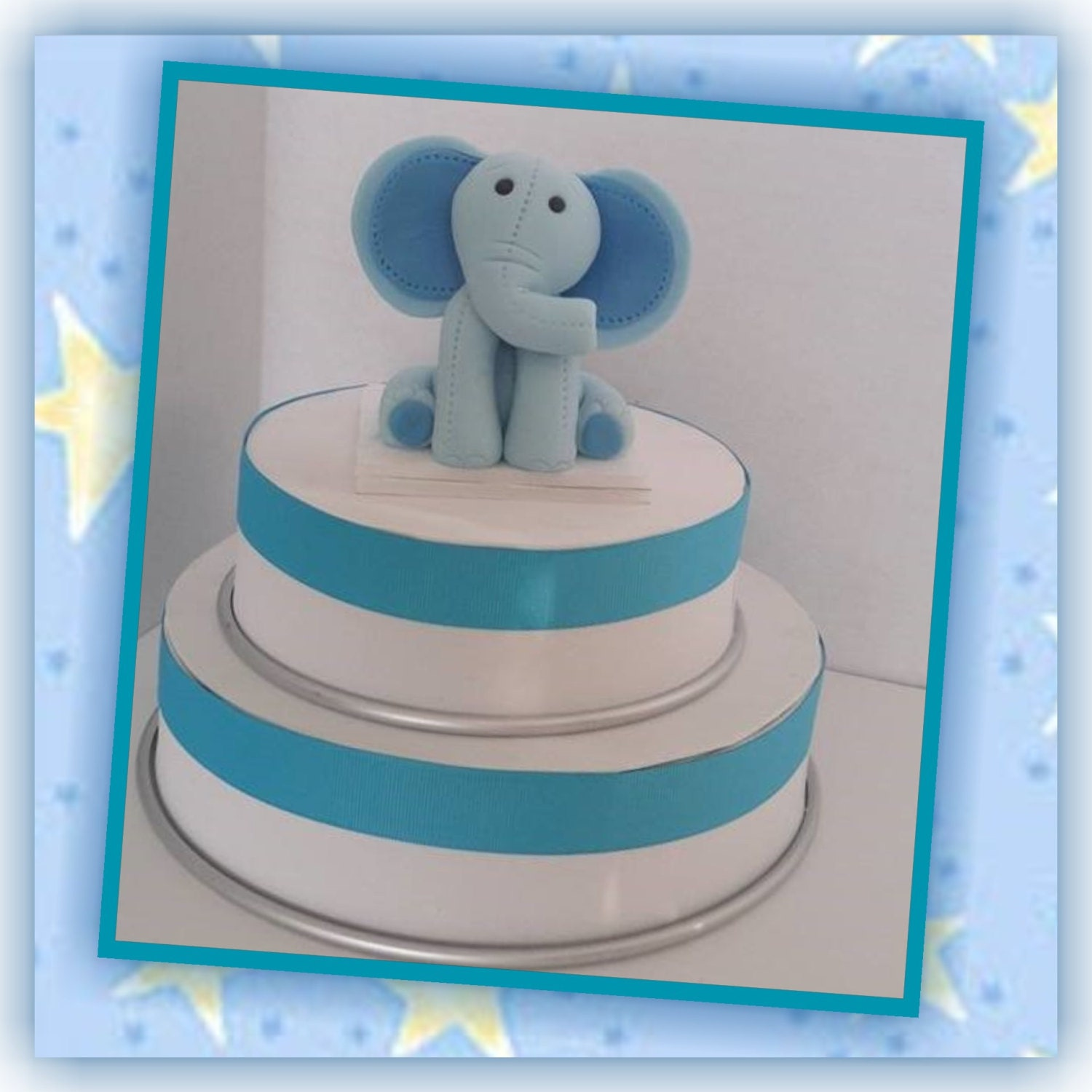 Edible Elephant Cake Decorations : Blue Elephant Edible Cake Topper