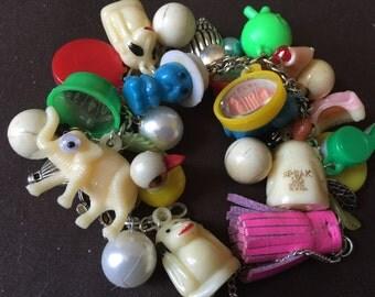 Crazy Critters Vintage Celluloid Gumball Charm Bracelet