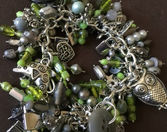 Vintage Beaded and Silver Olive and green Cha Cha Charm Bracelet