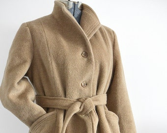 Vintage 1970's - 1980's, Camel-Toned, Wool-Blend, High-Collar, A-Line Coat with Tie Belt