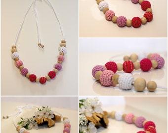 Nursing Nursing necklace Necklace, Kumihimo cord cotton Crochet necklace-love pattern