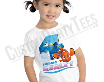 Finding Nemo Birthday Shirt Add Name & AGE Personalized Finding Dory Birthday T-Shirt