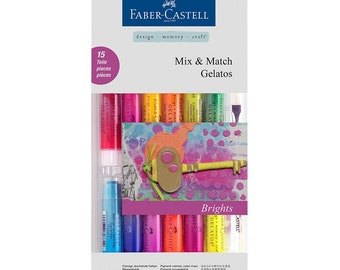 Faber Castell Gelatos 15 pieces pack - Brights / Pastels / Metallics - Creamy Vibrant Pigments/Watercolors/Water-Soluble/Mix Media