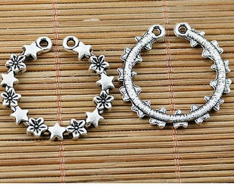 10pcs tibetan silver color flowers stars round charms EF1452