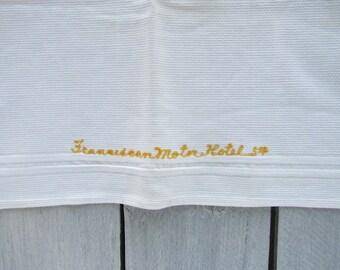 Franciscan Motor Hotel vintage hand towel, Mid century motel towel, Land O Lakes Florida state road 54 closed motel, vintage florida towel