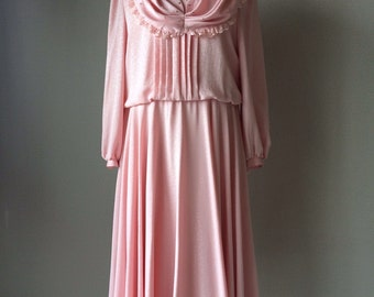 Size 12, size 14 gala vintage dress, 1970s dress, vintage dress, silk dress, pink dress, fairytale dress,