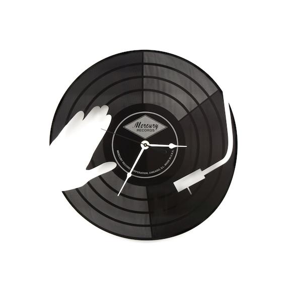 Large Wall Clock Laser Cut Acrylic Dj Turntable Clock Black