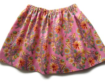 Girls summer skirt, pink baby skirt, pink flower skirt, floral girls skirt, floral baby skirt, pink toddler skirt, girls clothes, girls gift