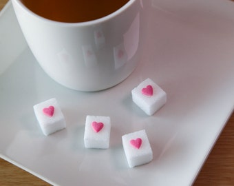 Mother's Day 60 Pink Heart Sugar Cubes/Tea, Tea Party Favors, Gifts, Wedding Favors, Baby Shower Favors, Bridal Shower Favors, Coffee