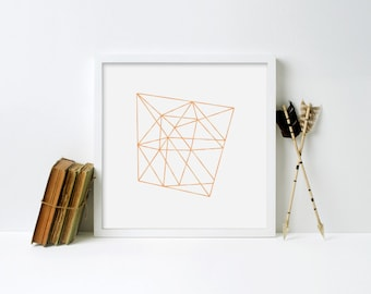 Gold Geo Framed Print - Black Frame, White Frame, Natural Frame - 12 x 12 inches, 16 x 16 inches