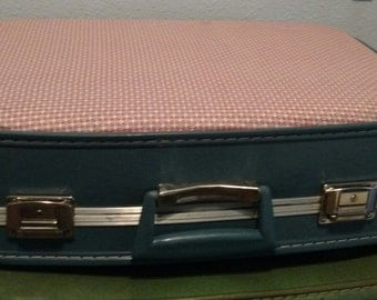 Upcycled Vintage Suitcase covered with fabric
