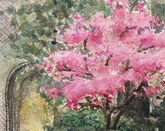 Blossom Tree with Pink Flowers, Watercolour Painting, Original Artwork