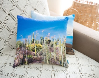 Decorative pillow with a photo design - Cactus (removable pillow cover and insert not included)