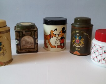 Tins and containers all retro vintage from the 70s and 80s