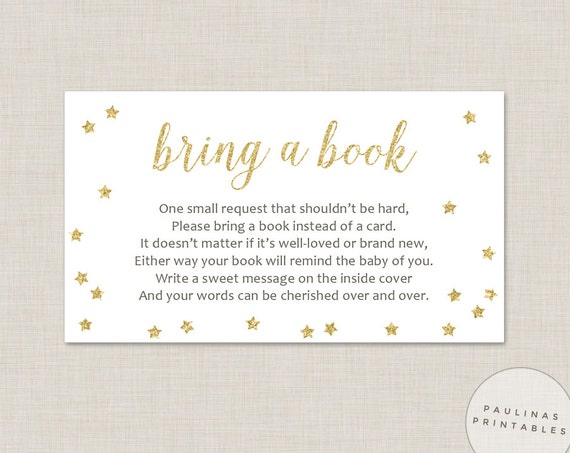Eloquent image within bring a book instead of a card printable