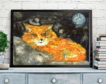 Fox painting,fox watercolor,fox art,fox print,woodland animal, forest animal,fox watercolour,fox wall art,moon,Modern fox, fox home Décor
