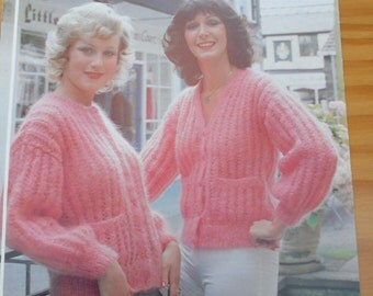 Original vintage knitting pattern by Jarol for 2 ladies cardigans, one v-neck and one round neck with patch pockets, knitted in mohair